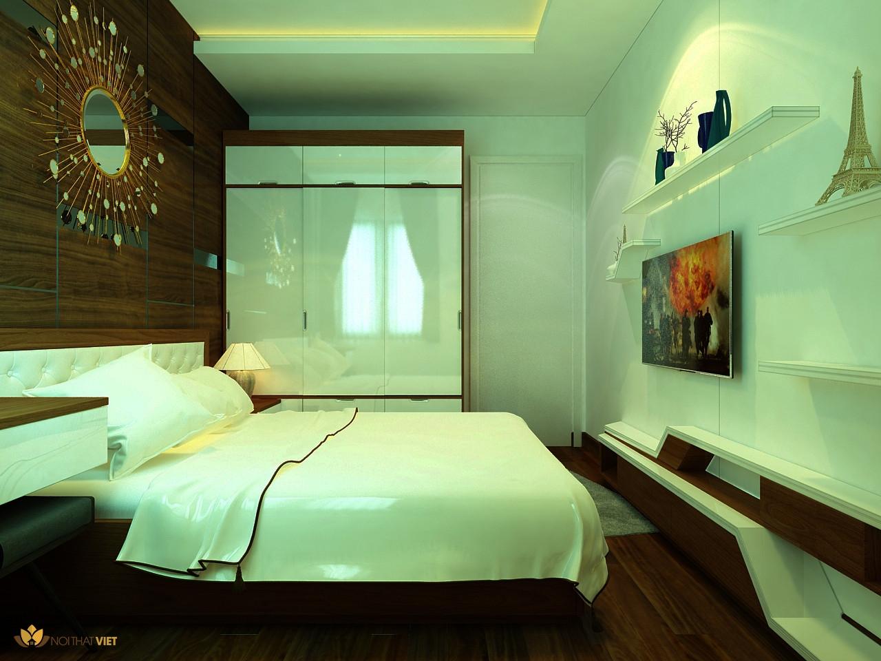 kệ trang trí trong phòng ngủ
