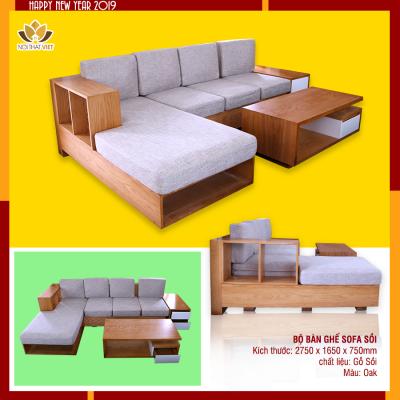 sofa văng gỗ sồi hiện đại