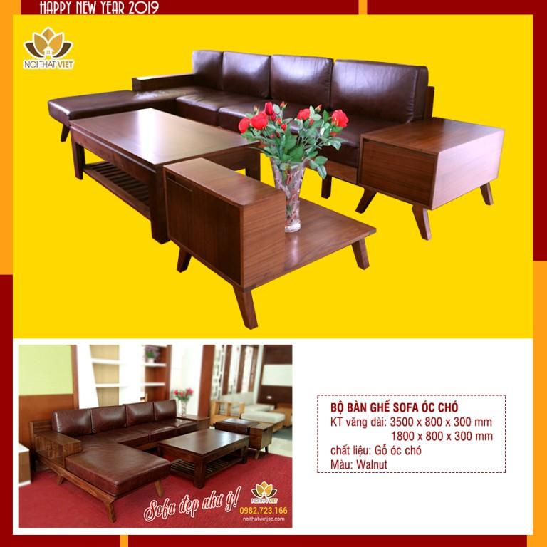 Sofa văng gỗ óc chó, góc chữ L- Rắn, chắc chắn, bền, đẹp và cực đẳng cấp