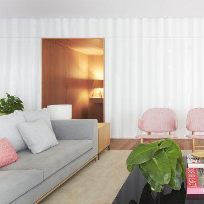 Kết hợp salon và sàn gỗ