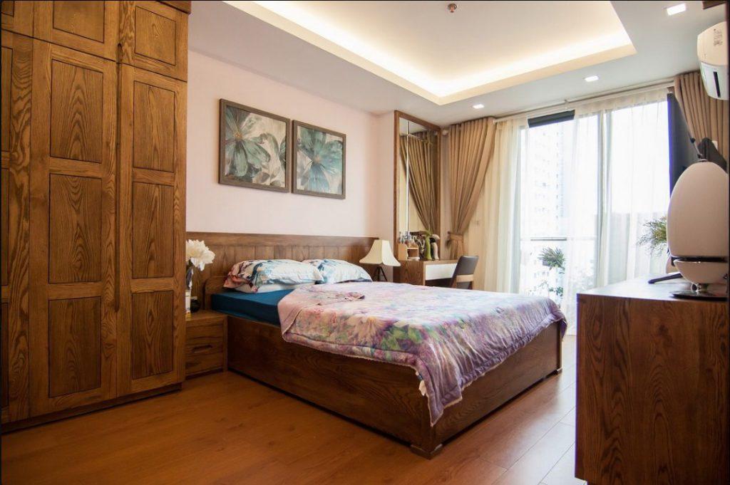 thiết kế nội thất phòng ngủ gỗ sồi tự nhiên