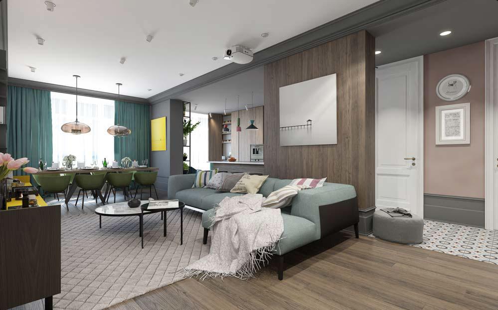 Tone màu xanh cho thiết kế phòng khách
