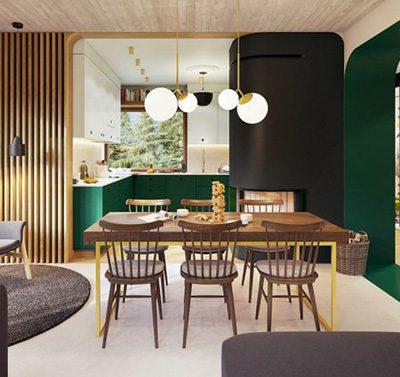 thiết kế nội thất màu xanh tự nhiên