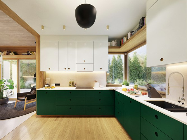 Tủ bếp hiện đại với sắc xanh hài hòa