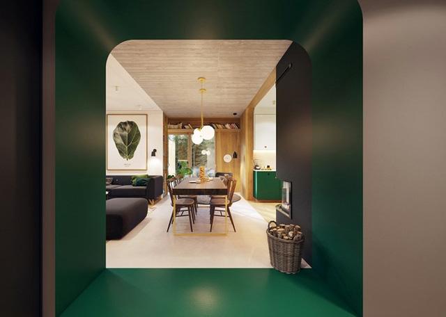 Tủ bếp màu xanh lá mang đến không gian mới mẻ