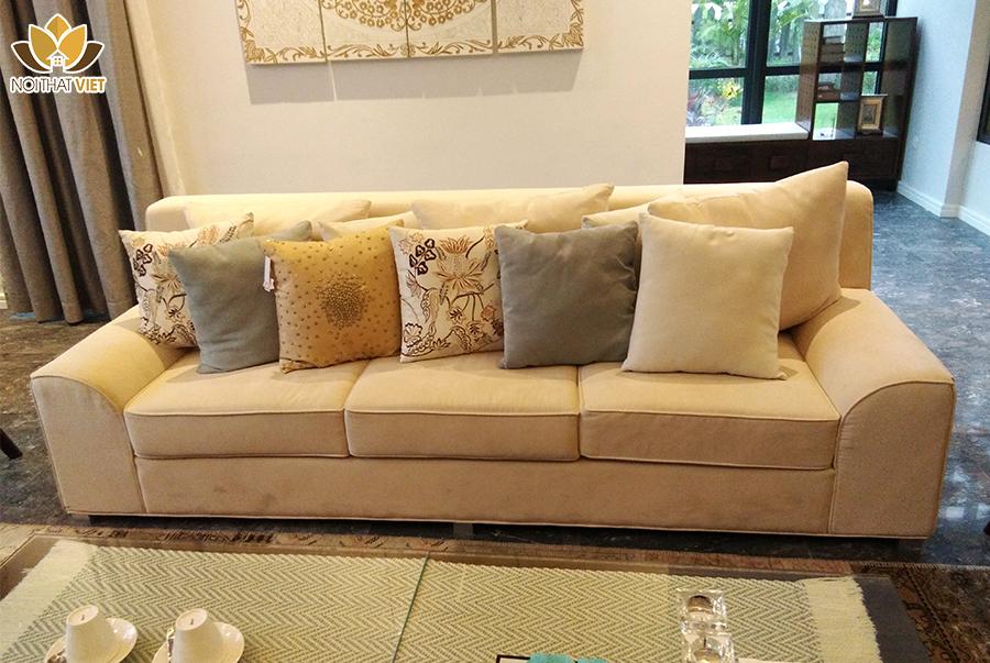 Ghế sofa nệm nỉ trắng êm ái