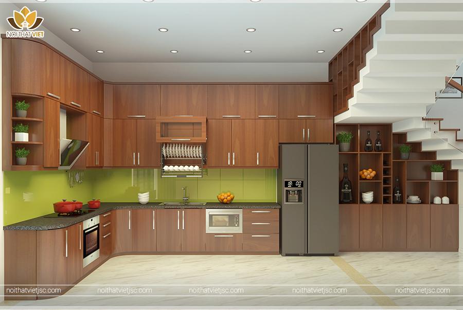 Thiết kế nội thất gia đình với phòng bếp veneer gỗ
