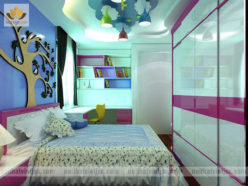 Thiết kế nội thất phòng ngủ cho bé gái ấn tượng