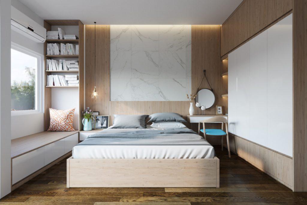 Nội thất phòng ngủ với tông màu nhẹ nhàng