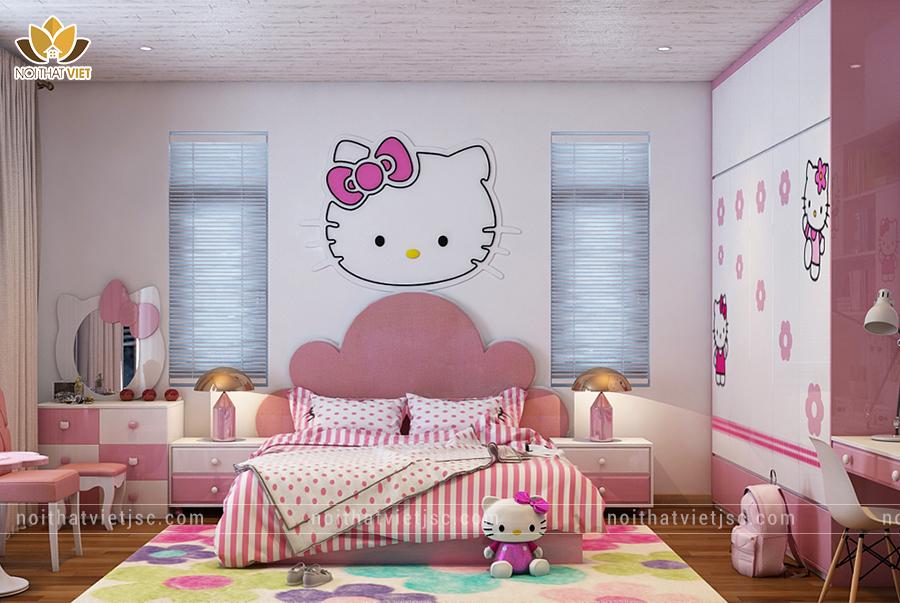 Thiết kế nội thất phòng ngủ cho bé gái với màu hồng đáng yêu