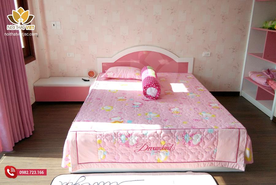 Giường ngủ bé gái gỗ công nghiệp cao cấp