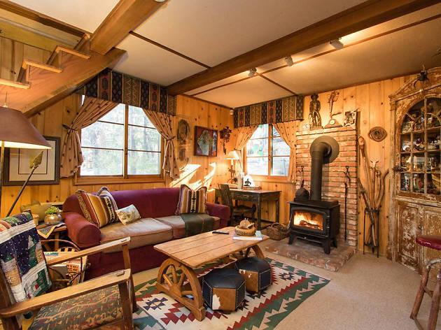 thiết kế nội thất phòng khách phong cách rustic