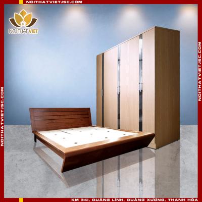 bộ phòng ngủ hiện đại với thiết kế giường cong ấn tượng