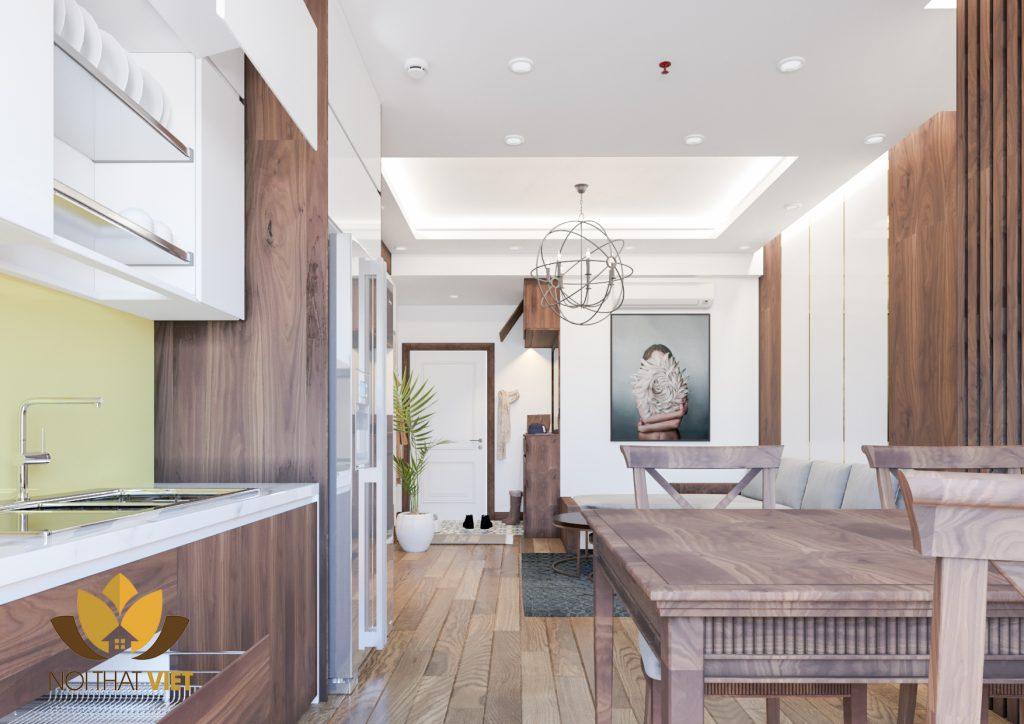 Thiết kế nội thất phòng khách - bếp của chung cư