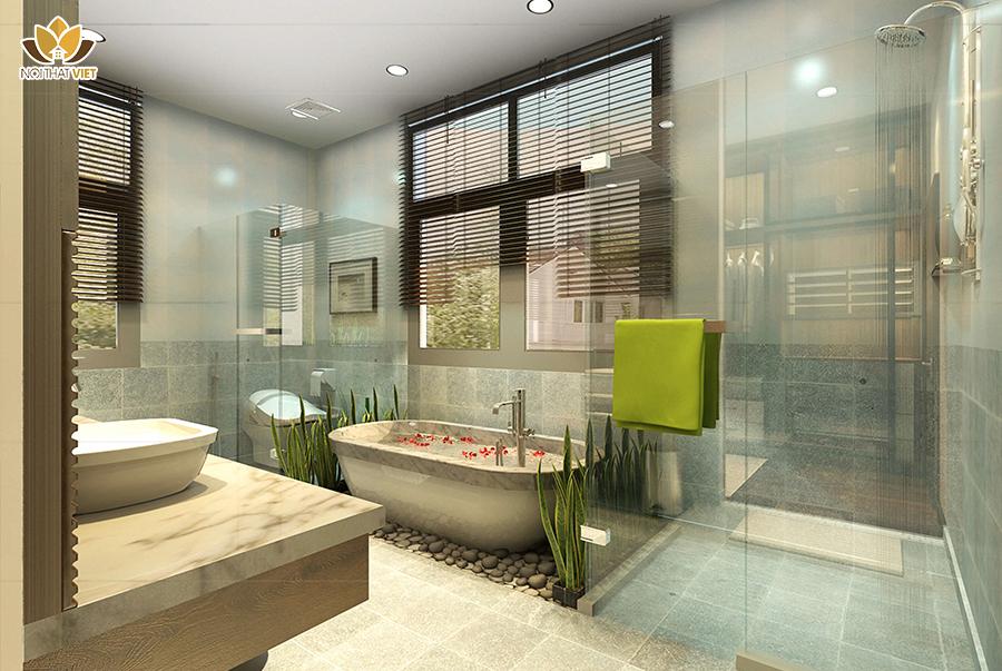thiết kế phòng tắm phong cách hiện đại cho diện tích lớn
