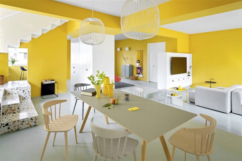 Màu vàng trong thiết kế nội thất
